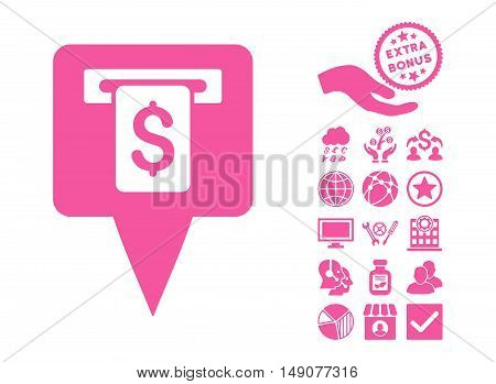 Cash Machine Map Pointer pictograph with bonus clip art. Vector illustration style is flat iconic symbols pink color white background.