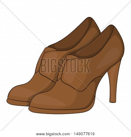 Womens shoes on platform icon in cartoon style isolated on white background. Wear symbol vector illustration