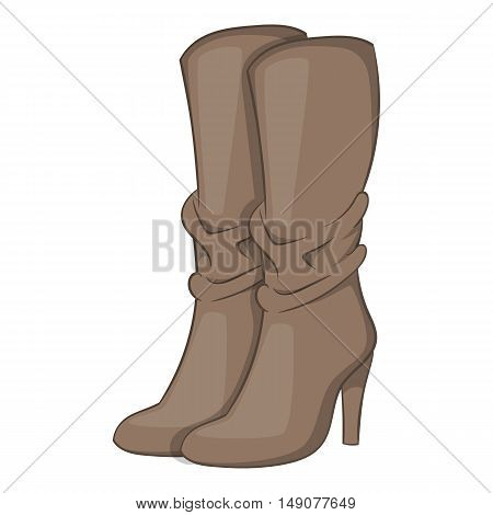 Womens boots high heel icon in cartoon style isolated on white background. Wear symbol vector illustration