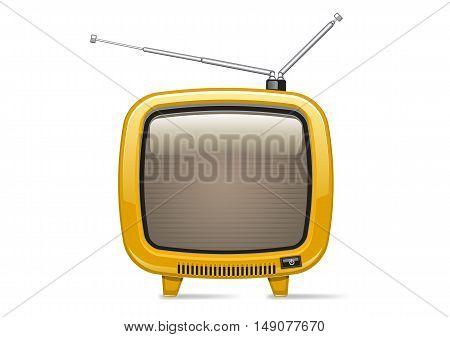 Isolated retro yellow TV on white background
