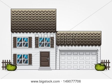 Two floor house with garage on white background
