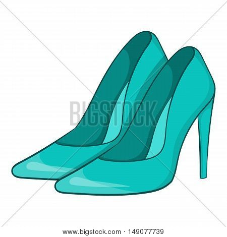 Women blue shoes icon in cartoon style isolated on white background. Wear symbol vector illustration