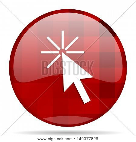 click here red round glossy modern design web icon