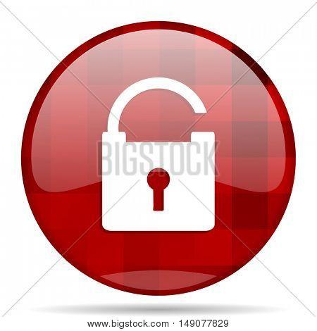 padlock red round glossy modern design web icon