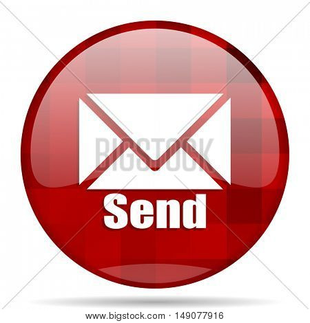 send red round glossy modern design web icon