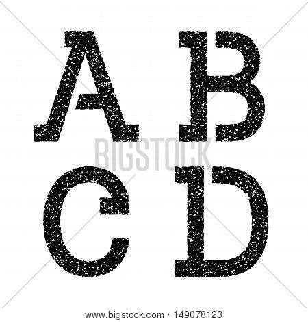 A B C D black stencil letters of grainy texture. Font in grunge style.