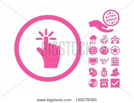 Click icon with bonus images. Vector illustration style is flat iconic symbols pink color white background.
