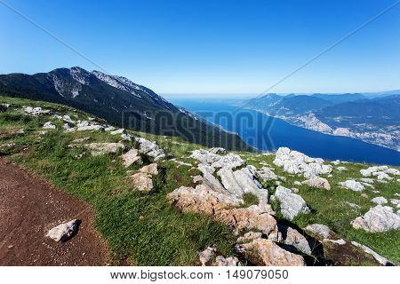 Aerial view of nice mountain view Garda Lake. Lago di Garda from from Monte Baldo. Summer vacation in northern Italy.