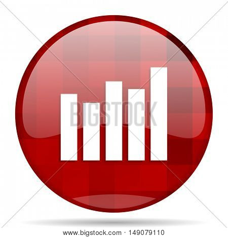 graph red round glossy modern design web icon