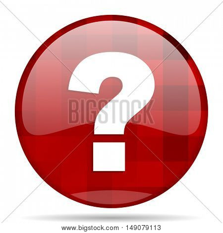 question mark red round glossy modern design web icon