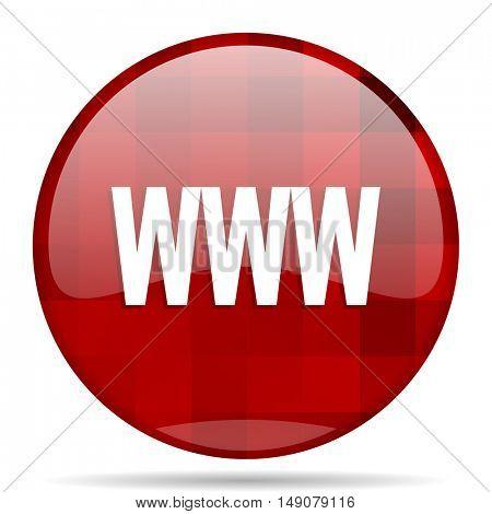 www red round glossy modern design web icon