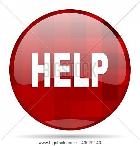 help red round glossy modern design web icon