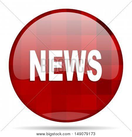 news red round glossy modern design web icon
