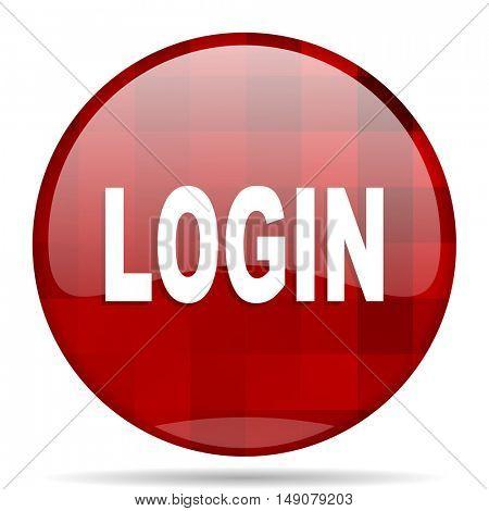 login red round glossy modern design web icon