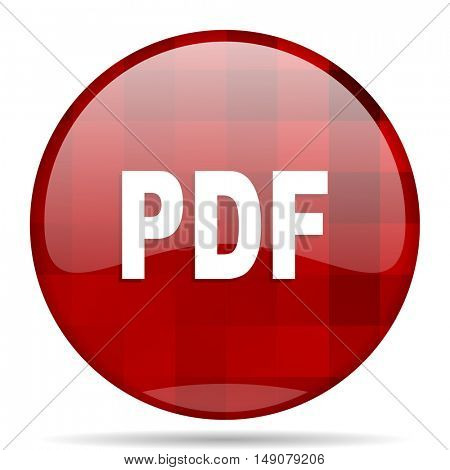 pdf red round glossy modern design web icon