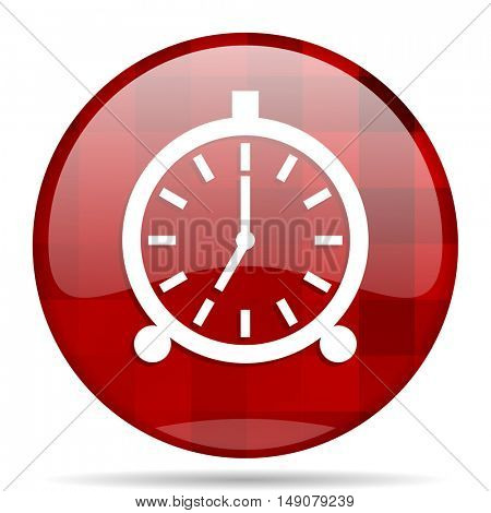 alarm red round glossy modern design web icon