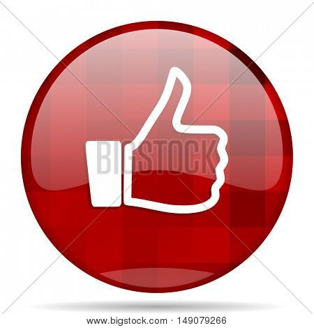 like red round glossy modern design web icon
