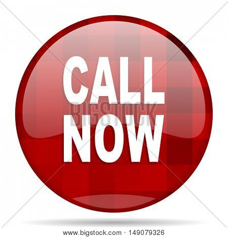 call now red round glossy modern design web icon
