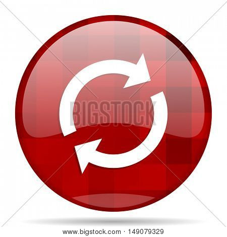 reload red round glossy modern design web icon