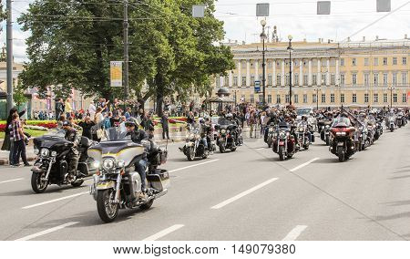 St. Petersburg, Russia - 13 August, A crowd of motorcyclists on the road,13 August, 2016. The annual parade of Harley Davidson in the squares and streets of St. Petersburg.