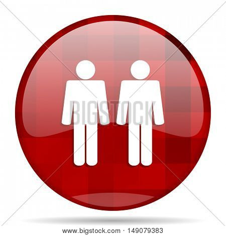 couple red round glossy modern design web icon
