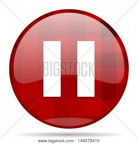 pause red round glossy modern design web icon