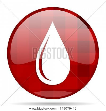 water drop red round glossy modern design web icon
