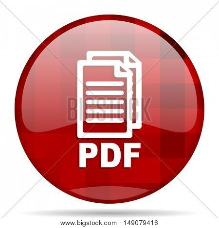 pdf red round glossy modern design web icon,