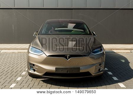 TILGURG, NETHERLANDS - SEPTEMBER 25, 2016: TESLA  MODEL-S. Tesla Motors Assembly Plant in Tilburg, Netherlands.