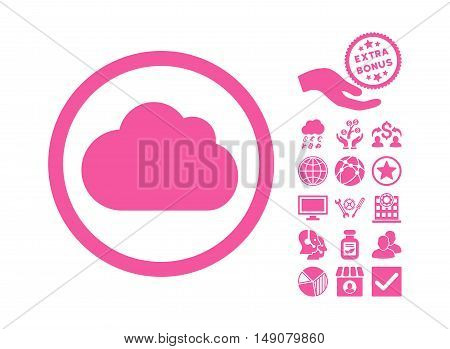 Cloud pictograph with bonus pictures. Vector illustration style is flat iconic symbols pink color white background.