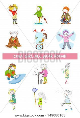 Vector set of seasonal changes with cartoon girl. Four season calendar. All months collection with cute child.