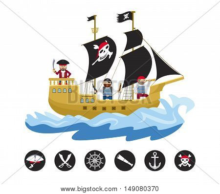 Pirate sailing ship with pirates and round piratical and nautical icons flat vector illustration
