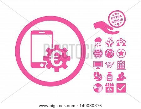 Configure Mobile Euro Bank pictograph with bonus icon set. Vector illustration style is flat iconic symbols pink color white background.