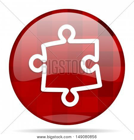 puzzle red round glossy modern design web icon