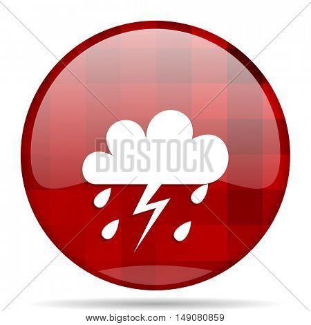 storm red round glossy modern design web icon