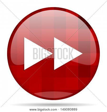 rewind red round glossy modern design web icon