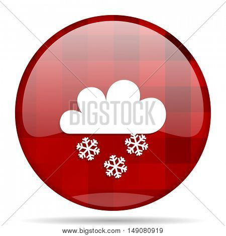 snowing red round glossy modern design web icon