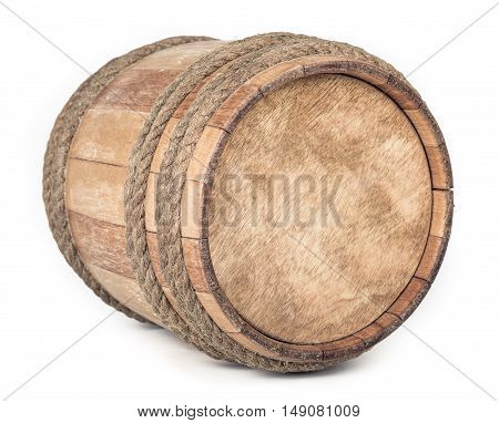Small Wooden barrel isolated on white background