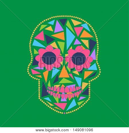 Skull vector background triangle green and pink