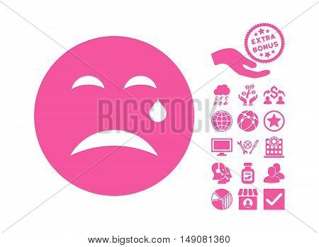 Cry icon with bonus elements. Vector illustration style is flat iconic symbols pink color white background.