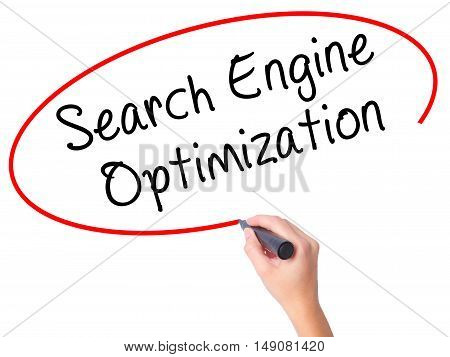 Women Hand Writing Search Engine Optimization With Black Marker On Visual Screen