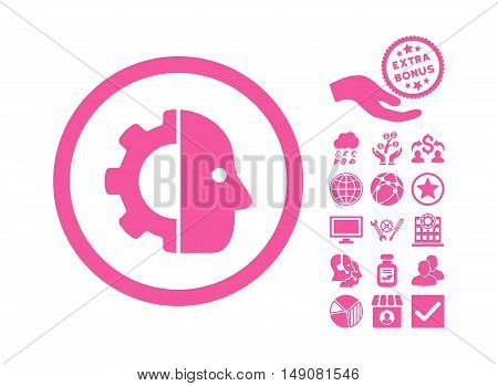 Cyborg pictograph with bonus pictogram. Vector illustration style is flat iconic symbols pink color white background.