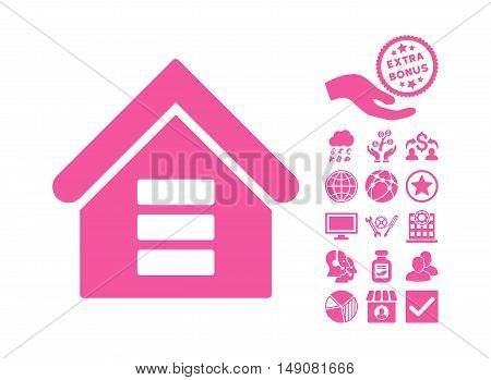 Data Center Building pictograph with bonus clip art. Vector illustration style is flat iconic symbols pink color white background.