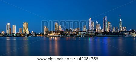 Panoramic View Of Sunset Over Surfers Paradise
