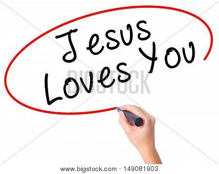 Women Hand Writing Jesus Loves You With Black Marker On Visual Screen
