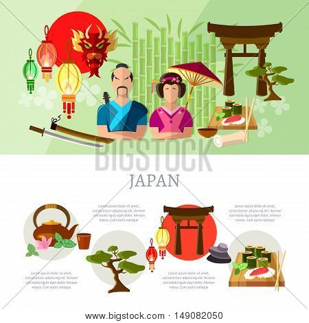 Japanese infographics tradition and culture vector illustration