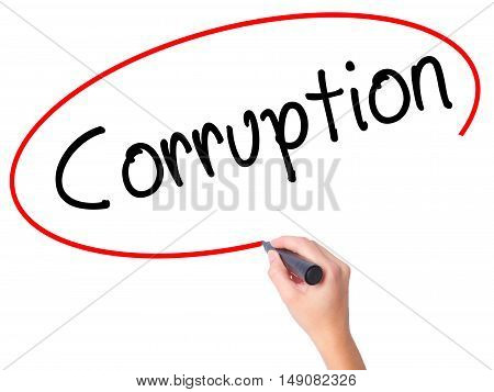 Women Hand Writing Corruption With Black Marker On Visual Screen