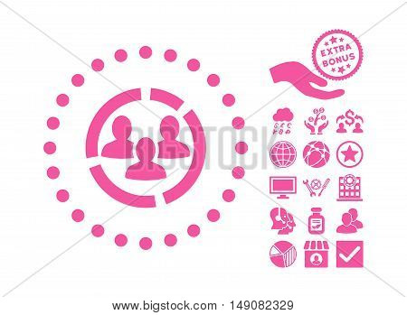 Demography Diagram pictograph with bonus pictograph collection. Vector illustration style is flat iconic symbols pink color white background.