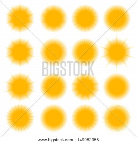 Set of sixteen different icons blurred sun isolated on white background design elements of weather vector illustration.