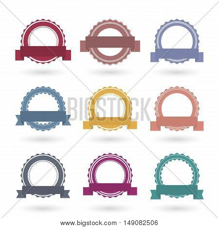 Set of nine different emblems with ribbons isolated on white background in vintage retro style. Template for seals and stamps material for logo and banners vector illustration.